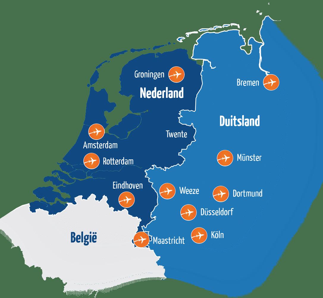Kaart Nederland - Duitsland